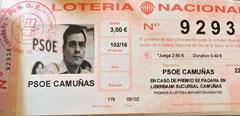 Participaci�n de Loter�a con la cara de Pedro S�nchez.